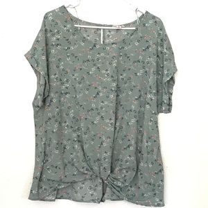 (2for20) SO Floral Green Blouse with knot (XXL)